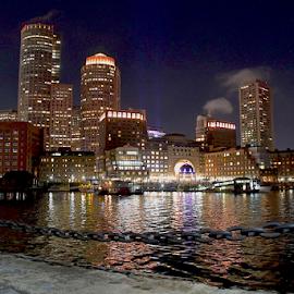 Boston Skyline by Liz Rosas - Buildings & Architecture Office Buildings & Hotels ( boston, fan pier, night, waterfront, skyline, lights )