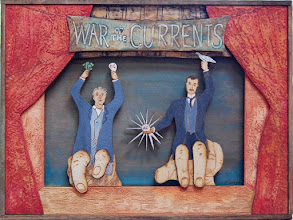"Photo: War of the Currents Puppet Theater, 12 x 16 x 1.5"", acrylic on laser engraved baltic birch"