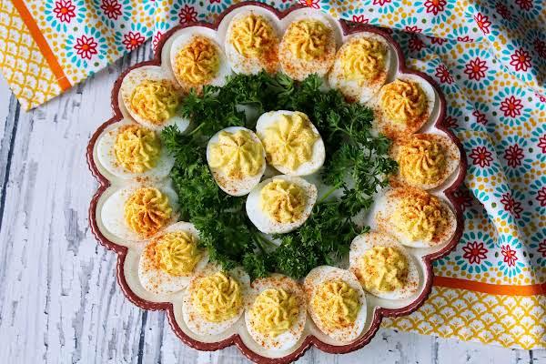 A Platter Of Deviled Eggs.