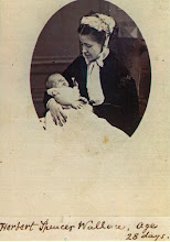 Photo: Wallace's wife Anne and their son Bertie aged 28 days. The image is in carte de visite format. Photographer: ? Copyright: John Wilson.