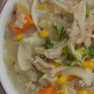 Slow Cooker Creamy Chicken and Noodle Soup.