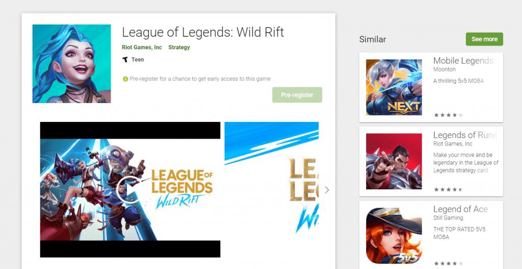 League of Legends  Wild Rift للاندرويد متوفرة على Google Play Store