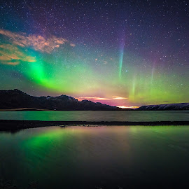Aurora night. by Hallgrimur P. Helgason - Landscapes Starscapes ( aurora borealis, northern lights, reflection, nightscape, iceland, long exposure )