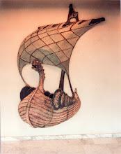 Photo: Relief van een Vikingschipin een trappenhuis een opdracht i.s.m. binnenhuisarchitect Van den Heuvel, 1980
