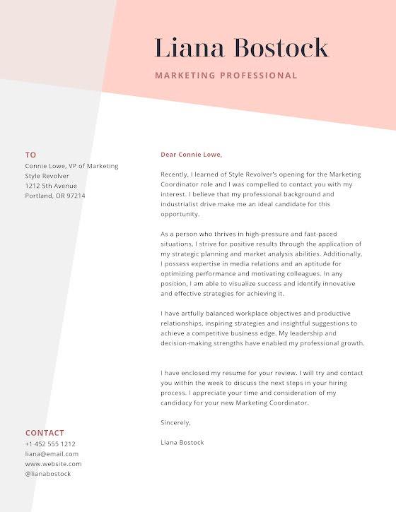 Liana Bostock - Cover Letter Template