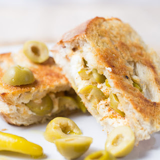 Feta Cheese, Green Olives And Hot Peppers Grilled Cheese