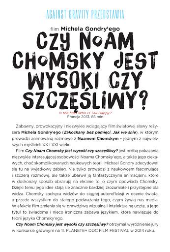 Tył ulotki filmu 'Czy Noam Chomsky Jest Wysoki Czy Szczęśliwy?'