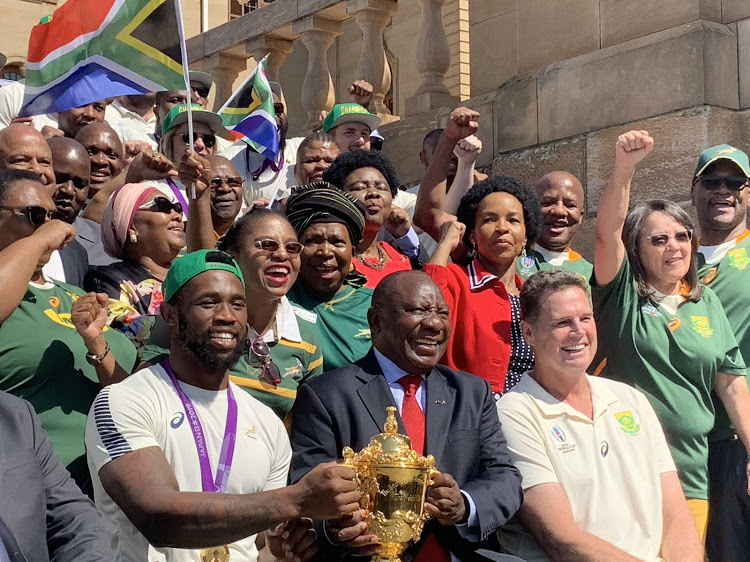 President Cyril Ramaphosa welcomes the Springboks to the Union Buildings