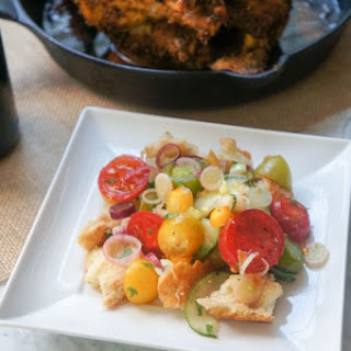 Bread Salad served with Roast Chicken