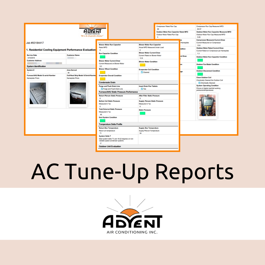 Three sample images from AC tune-up reports