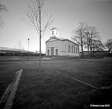Photo: Dockyard Chapel, Pembroke Dock. 37mm focal length 6x6 Fuji ACROSS 100