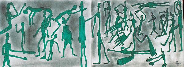 "Photo: Illusive Perceptions 14"" x 30"" 2000 - 2004 Pen & Ink on paper"