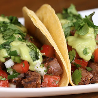 Chili Lime Steak Tacos With Avocado Sauce.