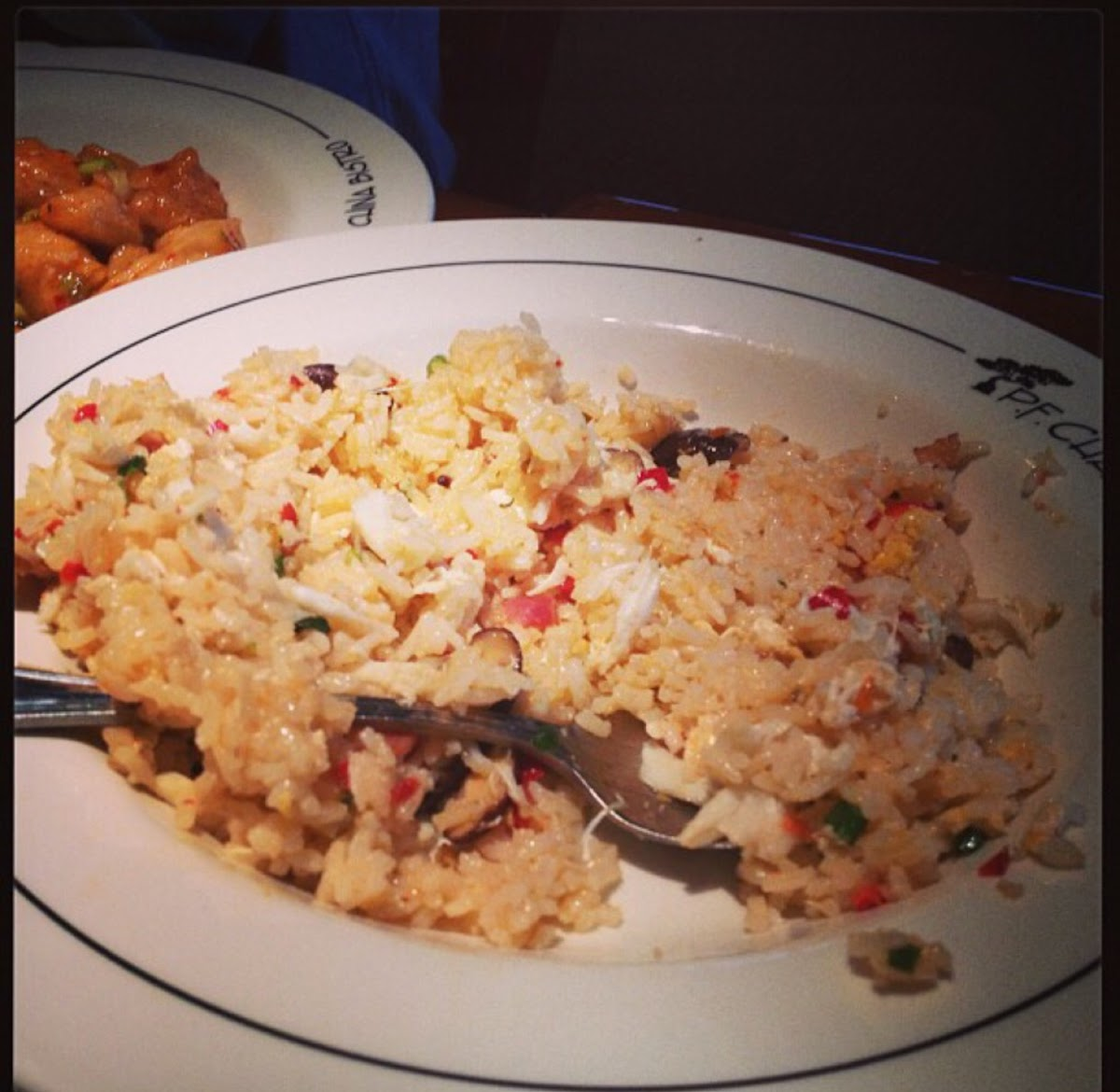 Gluten free Crab Fried Rice.  Hiding behind that plate is the Gfree Changs Spicy Chicken.  *Notice t