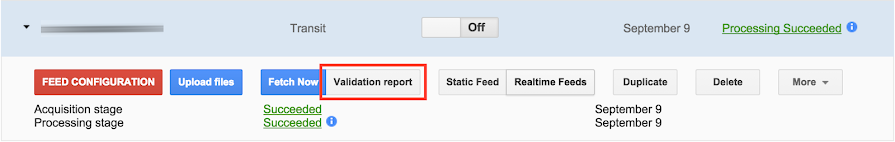 Validation report button