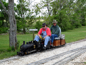 Photo: Engineer Clyde Brown and passenger Cody Crawford at Lakeside     HALS Public Run Day 2014-0419 RPW  12:04 PM