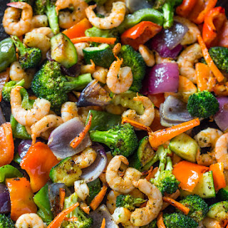 Easy One Pan Roasted Shrimp and Veggies.