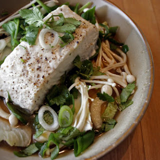 Steamed Halibut with Miso Udon Noodle Bowl