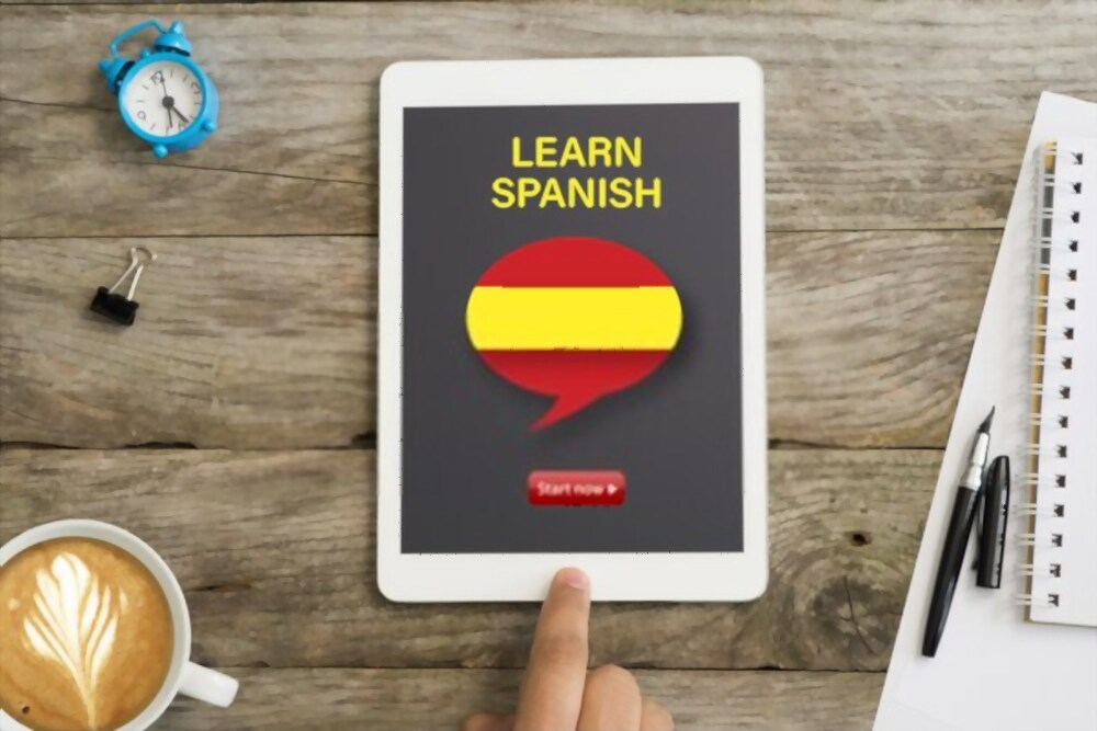 Spanish learning app on a tablet device.