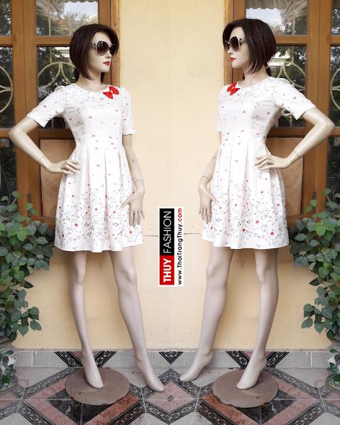 Váy xoè xếp ly công sở đính nơ đỏ V303 thời trang thuỷ