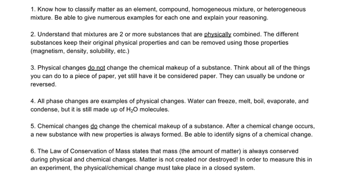 Physical And Chemical Changes Study Guide Google Docs