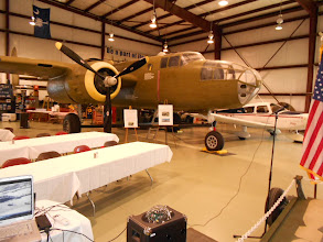 Photo: Here you get a pretty good overall view of the B-25. Tthis is where Cantzon parks his C-172 when the tables are not here.
