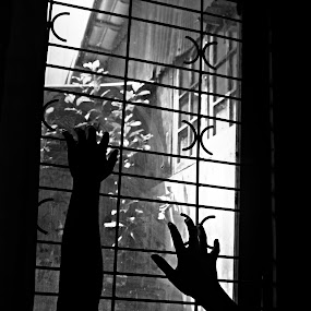 Black Window by Uze El-ersyadie - Black & White Objects & Still Life ( window, hands, black and white, bw, light,  )