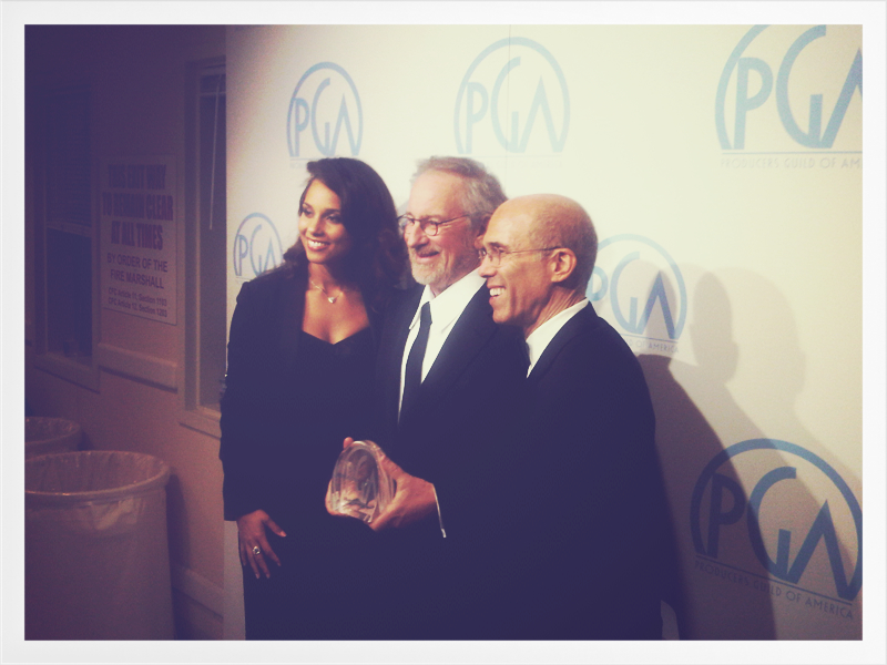 Photo: Steven Spielberg, Jeffrey Katzenburg and I