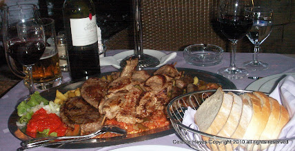 Photo: A basic meal in Croatia with red pepper spread, fried potatoes, beef and lamb
