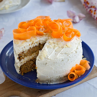 Healthy Carrot Cake with Almonds and Hazelnuts.