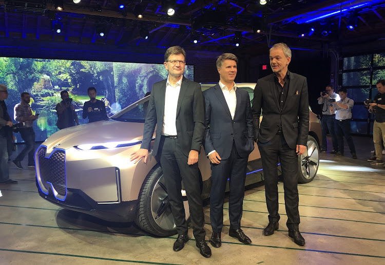 From left: Klaus Frohlich, Harald Krueger and BMW Group's design boss, Adrian van Hooydonk at the reveal of the BMW Vision I-Next. Picture: MARK SMYTH