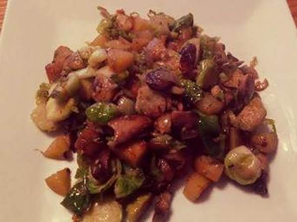 Potato Hash With Mushrooms And Brussels Sprouts Recipe