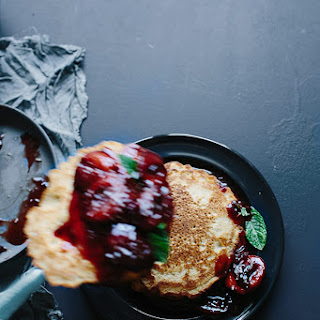 Rice Flour Pancakes With A Plum Compote.