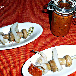 Mini Mushroom and Cuttlefish Skewer with Spicy Sauce