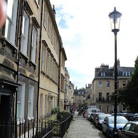 Streets of Bath by Ashley Rolland - City,  Street & Park  Street Scenes ( english streets, streetscape, home of jane austen, bath, stone path, old england )