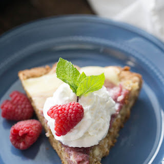 Raspberry Amaretto Cheesecake Skillet Blondie
