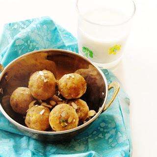 Mung dal and badam laddu (Split yellow lentils and almond balls).