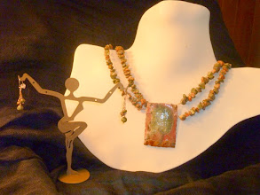 Photo: <BEREHYNYA> {Great Goddess Protectress} unique one-of-a-kind statement jewellery by Luba Bilash ART & ADORNMENT  WOOD NYMPHS – МАВКИ - copper enamel pendant, unikite, rose gold vermeil $200/set SOLD/ПРОДАНИЙ