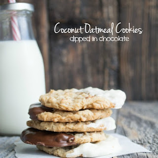Chocolate Dipped Coconut Oatmeal Cookies