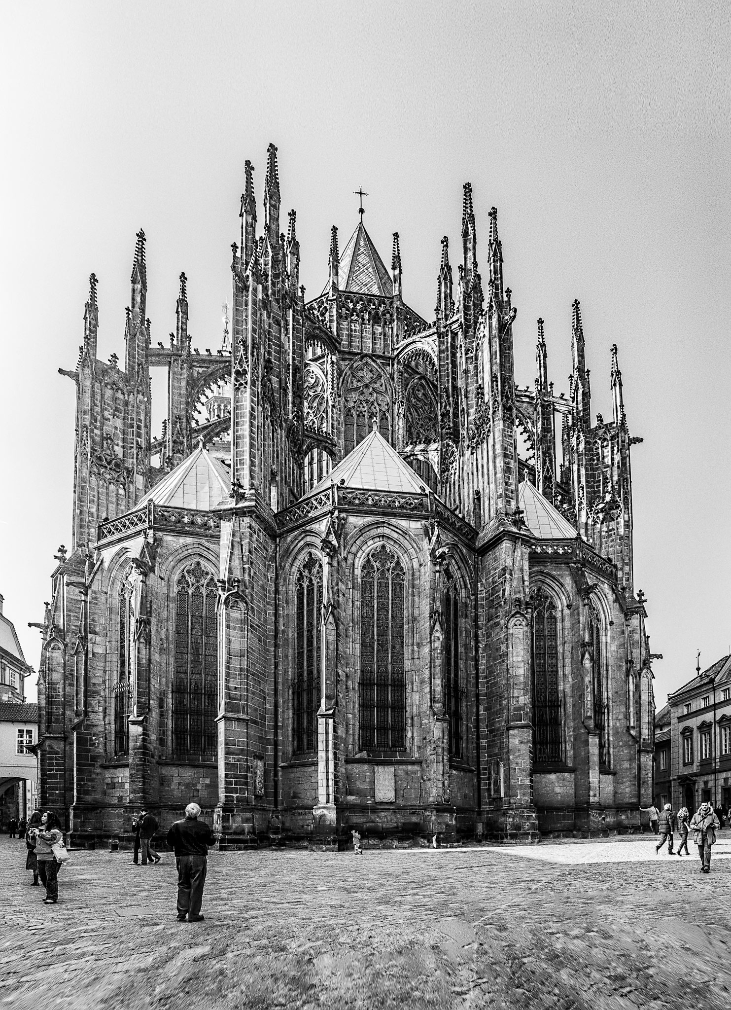 Photo: St. Vitus East End -from a 2008 visit.  This is a panorama of the east end of St. Vitus Cathedral, Prague. It is made from 7 hand-held shots. I made a similar pano back in 2008, but the tools in Photoshop are much better now, so I took another run at it.  The original frames were each straightened in #Lightroom5  before being sent over to be merged in  #PhotoshopCC . Next came #TopazDenoise3  followed by #TopazDetail5.   #SilverEfexPro2  was applied to convert to B/W.  #Travel   #CzechRepublic   #Prague   #StVitusCathedral   #CathedralPhotography