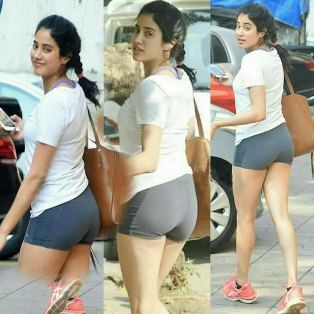 Janhvi Kapoor in gym shorts, Janhvi Kapoor legs, Janhvi Kapoor hot pants
