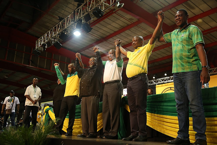 New members of the ANC top six: deputy secretary-general Jessie Duarte, secretary-general Ace Magashule, national chairperson Gwede Mantashe, president Cyril Ramaphosa, deputy president David Mabuza and treasurer-general Paul Mashatile celebrate at the 54th ANC elective conference in Johannesburg. Picture: MASI LOSI