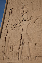 Photo: Dendara, outer wall, rear, Cleopatra VII and Caesarion