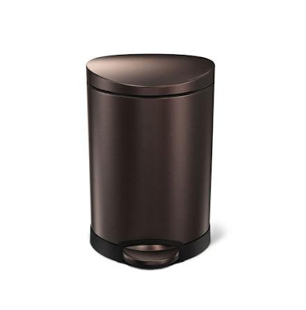 Semi-rund pedalhink Simplehuman 6 liter, Mörk brons, rostfritt stål