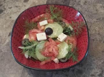 cucumber,tomato, feta and onion summer salad