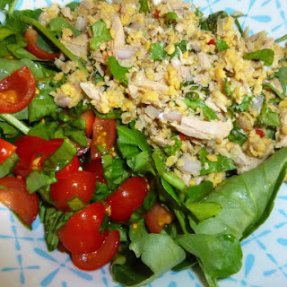 Watercress Salad with Spiced Tuna and Chickpea Couscous and Sorrel Tomatoes.