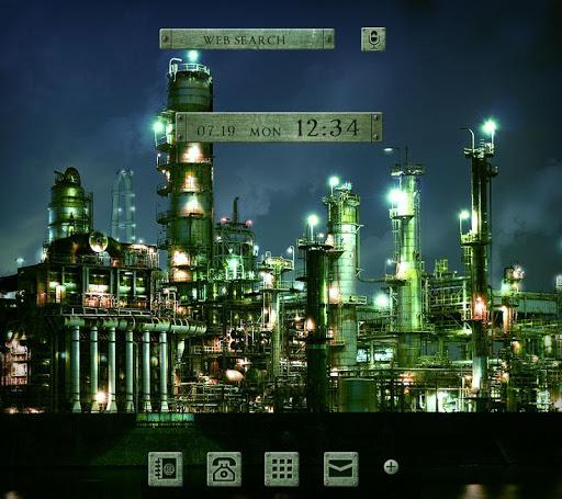 工場夜景-無料着せ替え壁紙