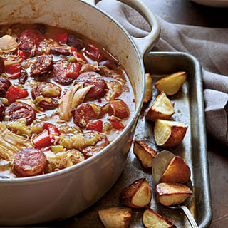 Chicken-Andouille Gumbo with Roasted Potatoes.