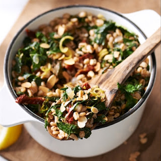 Sautéed Farro with Kale and Sun-Dried Tomatoes.