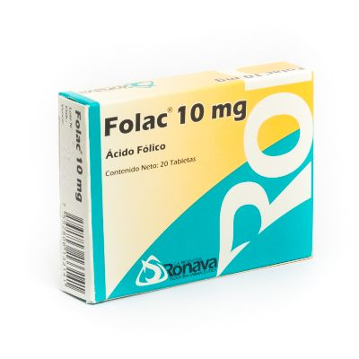Acido Folico Folac 10Mg 20Tabletas Ronava Ronava